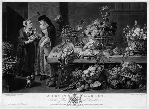 die märkte a fish market a game market a herb market a fruit market portfolio of 4 after frans snyders by richard earlom
