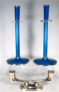 pair of candlesticks (+ low 2-light candelabrum) by david anderson