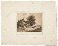 bauernkate zwischen bäumen, im hintergrund hügelige landschaft by christoph nathe