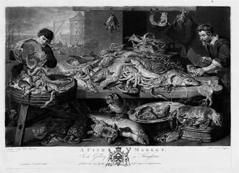 a fish market der fischmarkt after frans snyders by richard earlom