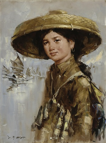 young fisherwoman by lee man fong