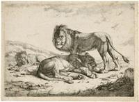 drei löwen in einer landschaft by johann nepomuk rauch