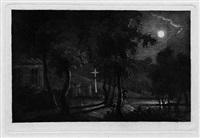 vollmondlandschaft: blick auf einen mondbeschienenen weiher am kirchenfriedhof by maria anna fischer