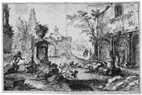 landschaft mit ruinen und drei arbeitern by joseph stephan