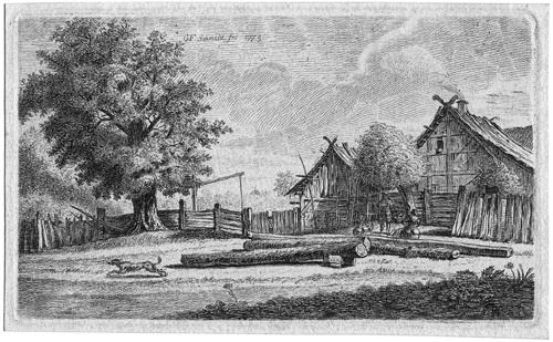 landschaft mit dem geburtshause schmidts der eingang im dorfe pankow bei berlin by georg friedrich schmidt