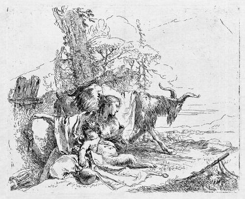 eine nymphe mit einem kleinen satyr und zwei ziegen by giovanni battista tiepolo