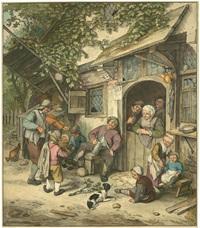 der violinspieler vor einem gasthaus (after adriaen van ostade) by cornelis (jacob c.) ploos van amstel