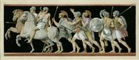 zug römischer soldaten zu pferd und zu fuß (after einem antiken fries) by jean baptiste joseph wicar