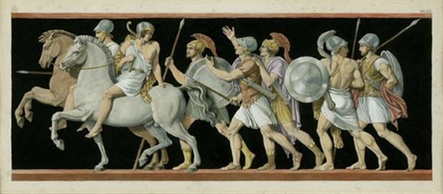 zug römischer soldaten zu pferd und zu fuß after einem antiken fries by jean baptiste joseph wicar