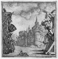 entwurf zu einer bühnenarchitektur mit einer festungsanlage (after ferdinando galli-bibiena) by pietro giovanni abbati