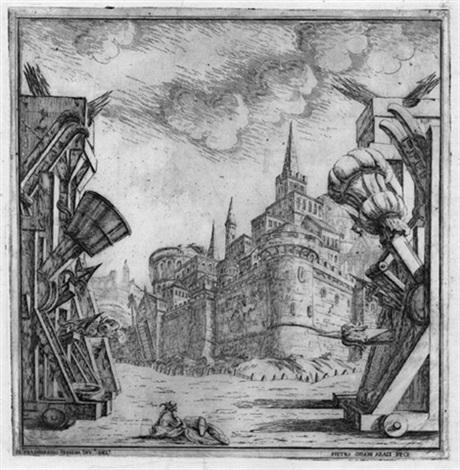 entwurf zu einer bühnenarchitektur mit einer festungsanlage after ferdinando galli bibiena by pietro giovanni abbati