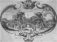 kartusche mit einer großen festgesellschaft im garten by baltazar moncornet