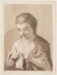 die junge strickerin (after adam friedrich oeser) by johann friedrich bause