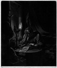 cato bei nächtlicher stille im phaedon lesend (after johann heinrich tischbein d. ä) by ernst friedrich ferdinand robert