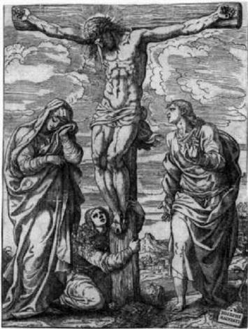 die kreuzigung christi mit maria johannes dt und maria magdalena by giuseppe salviati porta