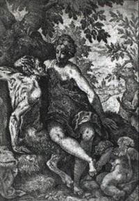 die nymphe auf dem schoose eines satyrs sitzend by bartholomäus reiter