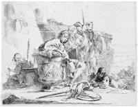 sitzender knabe, sich auf eine vase stützend (from capricci) by giovanni battista tiepolo