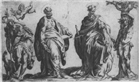 die hll. petrus und paulus, rochus und sebastian by orazio (aquilano) de santis