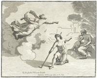 lot verlässt mit seiner frau und seinen töchtern sodom (+ gott erscheint isaak; 2 works after raphael) by antonio maria zanetti