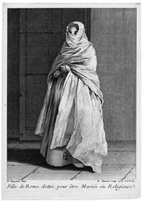 fille de rome: junge römerin, im hochzeitsgewand (after nicolaus vleughels) by edmé jeaurat