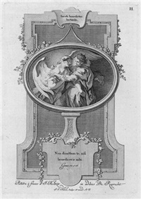 jacob ringt mit dem engel (+ elias und der engel...; 2 works after johann evangelist holzer) by johann esaias nilson