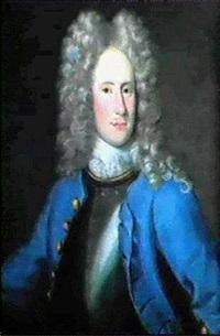 portratt av friherren och kaptenen karl oxenstierna ikladd bla rock samt brostharnesk, brostbild by lucas van breda