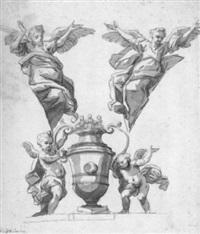 vase, von zwei putten flankiert by johann jacob eybelwieser
