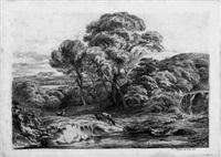 landschaft mit hirschkuh und zwei rehen an einem kleinen wasserfall (+ another; 2 works) by johann fischbach