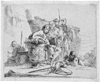 giovane seduta, appoggiato ad un'urna (junger mann bei einer urne sitzend) by giovanni battista tiepolo