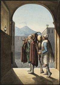 la novena di natale (zwei pifferari vor dem bild der madonna, im hintergrund der vesuv) by hieronymus hess