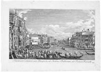 ansicht der regatta auf dem canal grande vom palazzo balbi zur rialto brücke, pl. xiii (from prospectus magni canalis venetiani, after canaletto) by antonio visentini