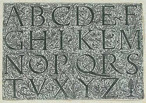 alphabet in römischen majuskeln mit fig floralen hintergrundverzierungen by daniel hopfer