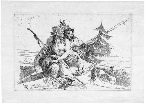 bacchant satyr und junge faunin rrom scherzi di fantasia by giovanni battista tiepolo
