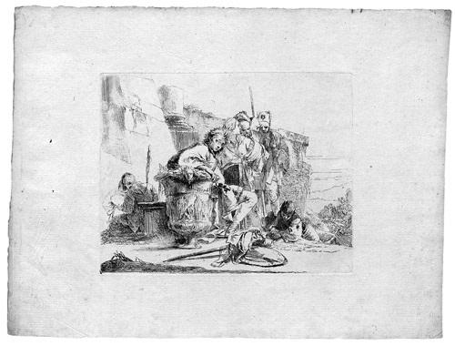 giovane seduta appoggiato ad unurna junger mann bei einer urne sitzendfrom vari capricci by giovanni battista tiepolo