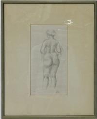 femme nue de dos tenant une echarpe by aristide maillol
