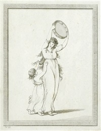 lady hamilton's attitudes (portfolio of 12 w/title pg. by thomas piroli) by friedrich rehberg