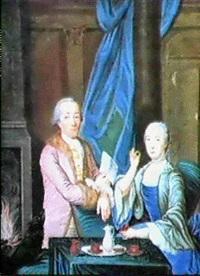 interior med konstnaren och dennes hustru magdalena vid   kaffebordet by niclas lafrensen the elder