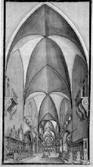 innenansicht der basler barfüsserkirche mit blick durch das langhaus gegen lettner und chor by johann jakob arhardt