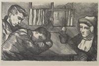 drie walcherse figuren in interieur by charley toorop