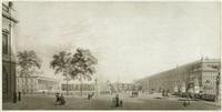 berlin: blick über die schlossbrücke, links das alte museum mit dem lustgarten, rechts das berliner stadtschloss, im hintergrund der dom (by friedrich jügel) by karl friedrich schinkel