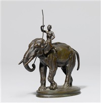 elefant mit reiter by alfred barye