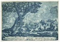 drei landschaften mit der hasenjagd, schweinejagd und wolfsjagd (3 works) by georg philipp rugendas the elder