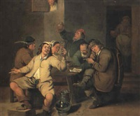 vardshusinterior med drickande man - aldre hollandsk    malning by axel johan fagerplan
