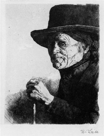 alter mann mit stock by wilhelm maria hubertus leibl