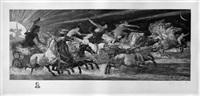 the chariots of the hours (wettlauf der stunden) (after walter crane) by adolf gustav döring