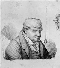 brustbildnis eines mannes mit kopfbinde, pistole by franz veith