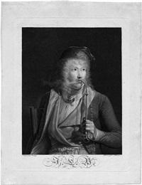 le fumeur (bildnis des malers jacques-luc barbier) (after jean-baptiste isabey) by francois aubertin