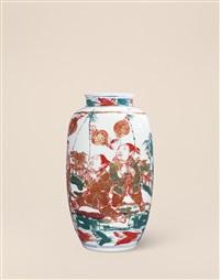 高温红绿彩吉祥图瓶 (figure vase) by rao xiaoqing