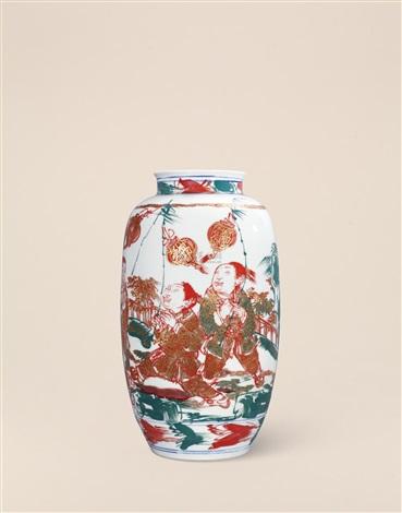 高温红绿彩吉祥图瓶 figure vase by rao xiaoqing