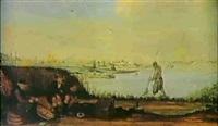 flodlandskap med batar samt fiskare pa stranden by arent (cabel) arentsz